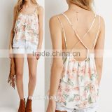 Sexy back halter spaghetti strap sleeveless printed charming top
