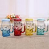 factory wholesale customised logo skeleton glass mason jar glass bottle 450ml 350ml glass jar with lip with handle