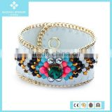 Rose Gold Plated Chain Sheepskin Colorful Beads Pearl and Glass Brand Bracelet Jewelry Wholesale 2015
