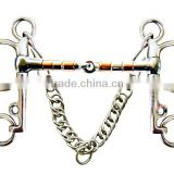 Stainless steel horse Pelham bit with hooks&curb chain,(Type-04)