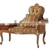 Antique Classic Palace Leisure Telephone Chair, Luxury Gold Painting Armed Chair, Sofa Wood Carving Living Room Furniture