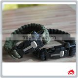 Outdoor Camping Steel Shackle Rope Buckle Whistle Gear Flint Fire Starter Scraper Survival Bracelet
