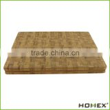 Large End Grain Bamboo Cutting Board | Professional, Antibacterial Butcher Block | Non-Slip Rubber Feet