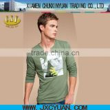 made in china fashion long sleeve cotton men t shirts with printing 2014