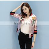 Factory dirct wholesale fashion cheap price flower pattern printed women leather jacket baby pink color