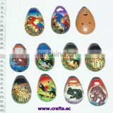Ceramic whistles with ethnic latin images, photos of animals. Noise makers, toys and hobbies.