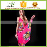 2017 ladies summer flower design bikini sexy girls cover up beach dress