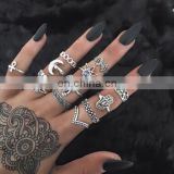 Hot 13Pcs/Set Gothic Retro Antique Women Popular Silver Bronze Elephant Crown Midi Finger Rings