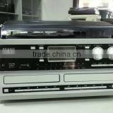 Double CD turntable player,encoding vinyl player,CD recording turntable with cassette and radio