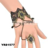 Exquisite Hollow Pendant Lace Bracelet With Fringed Ring For Women