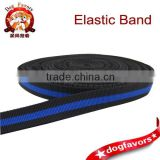 Nylon Black and blue folds elastic band for dog leash using, High end elastic ribbon