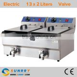 Counter top rectangular 2 tank 2 basket electric deep fryer machine with oil faucet and CE certificate (SY-TF213V SUNRRY)