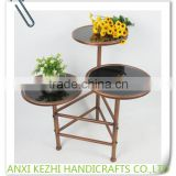 KZ160238 Luxury 3-tier Metal Indoor Marble Top Flower/pot/Plant Stand