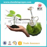 Green glass botthe with garden sprayer for plant sprayer