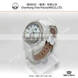 High grade leather band slim stone quartz cheap watch in bulk