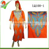 fashion african women maxi dress 100% linen fabric dress clothing with embroidery design
