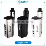 Easy DIY RBA Base Kanger Dripbox 160w box mod kit bottom filling 7ml super atomizer with replaceable dual 18650 battery