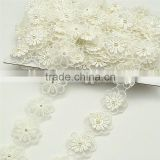 14yards White Embroidered 2-layer Flower Applique pearl beaded Core Lace Trim DIY wide 3.5cm