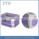 Professional Purple Beauty Makeup Cosmetic Case Portable Aluminum Travel Jewelry Case ZYD-HZ91207