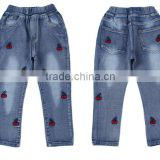 kids clothes girls denim jeans embroidered design jeans pants for children                                                                                                         Supplier's Choice