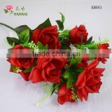 12 heads 60cm length silk red rose grave rose arrangement with petal edge print
