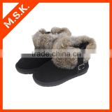 Black faux fur surrounded with buckle ankle snow boot
