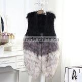 Brand new Real raccoon fur knitted vest charming winter coat for elegant lady good quality