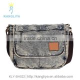 Beautiful ladies cross shoulder bags cowboy bags contrast color jean handbag