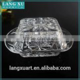 LX-H009 old fathion engraved crystal glass butter dish with cover