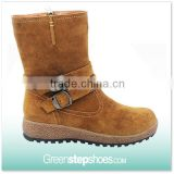 Women Brown Suede Leather Shoes Boots Half Boots