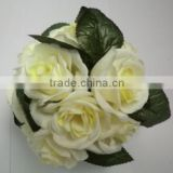 artificial ivory white rose ball , silk flower ball with 18 head for wedding decorations