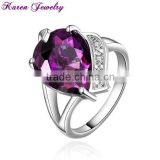 New Heart Amethyst Purple Zircon Crystal Ring Party Engagement Exaggerated Wedding Rings for Women Platinum Plated