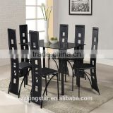 New style cheap tempered glass top table stainless steel legs dining table set for home furniture