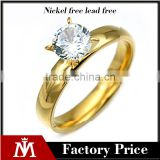 14k gold plated fashion rings stainless steel womens party rings big zirconia rings jewelry for gift