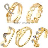 5pc set knuckle ring diamond with gold rings for women