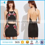Two piece set women dress 2017 black embroidered rose applique suede halter top with skirt