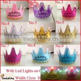 2015 new happy birthday party crown hats lovey girls paper crown with led lights
