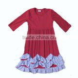 Girls boutique beautiful cotton dress summer solid Persnickety Ruffles Girl Dress girls cheap&good qualtity clothing wholesale
