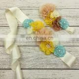 Chiffon Ribbon Flowers Sash & Headband Sets With Vintage Pearl Infant Mint Beige Rose Headband