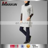 High quality muslim women sportswear uniform nice beaded front gray blouse Islamic Sweater suits Sport wear
