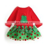 Baby Girl Child Sweet Christmas Skirt Gift Bowknot Ruffle Lace Hemline Round Collar Long Sleeve Dress