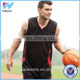 Yihao 2016 garments custom trade assurance men plainblack 100 polyester dry fit wholesale blank basketball jerseys