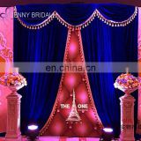 BCK144A custom royal blue velvet fabric party event backdrop weddng stage backdrop decoration
