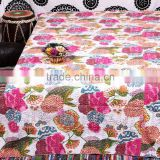 Ethnic Flower Print Quilt Indian Kantha Quilt Queen King Hand Stitched Quilts Designer Vintage Handamde Bedspread