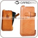 Guangzhou Cheap Vegetable Tanned Leather mobile phone case for iPhone 6s/6s Plus New Design Phone pouch