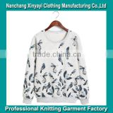 2014 Korean style cute birds print fleece women hoody direct from factory with cheap price