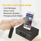 LCD FM Radio Alarm Clock Bluetooth Speaker Charging Dock Station For Apple iPhone 5S 5G,4G,4S, iPod, Samsung