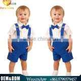 2016 Summer new style baby boy fashion british 3pcs blue strap with tie handsome boy clothes