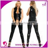 Ladies Fetish Sexy Jumpsuit Crotchless Bodysuit Gothic Punk Wet Look Open Cup Catsuit