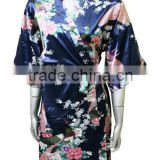Navy Blue Peacock Kimono Women Silk Satin Bath Robe Pajamas Sleepwear Floral Style